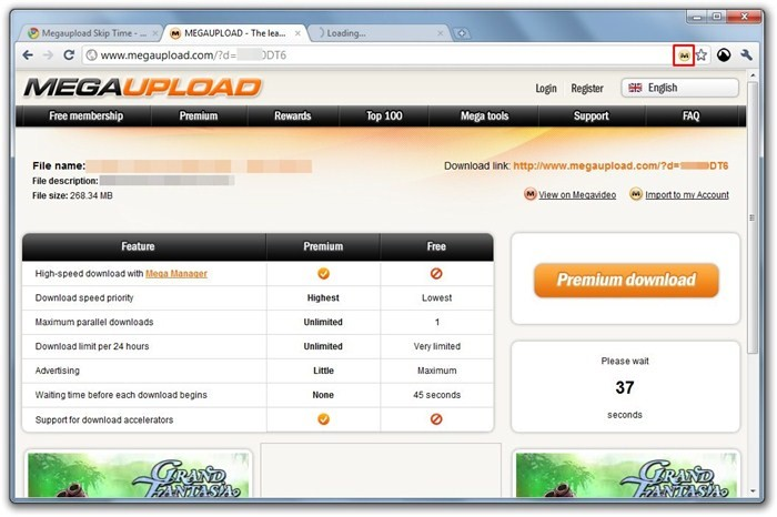 Megaupload Skip Time