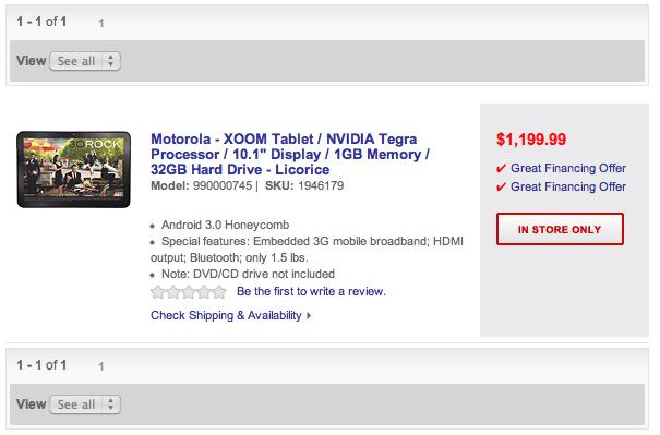 Motorola Xoom no site da rede BestBuy