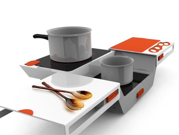 Fogão e mesa em um produto compacto