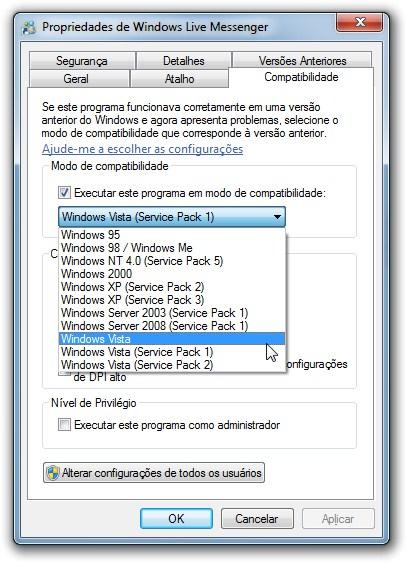 Selecione Windows Vista na janela Propriedades