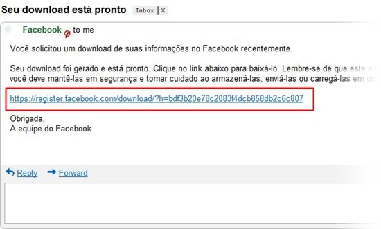 Link para download do backup