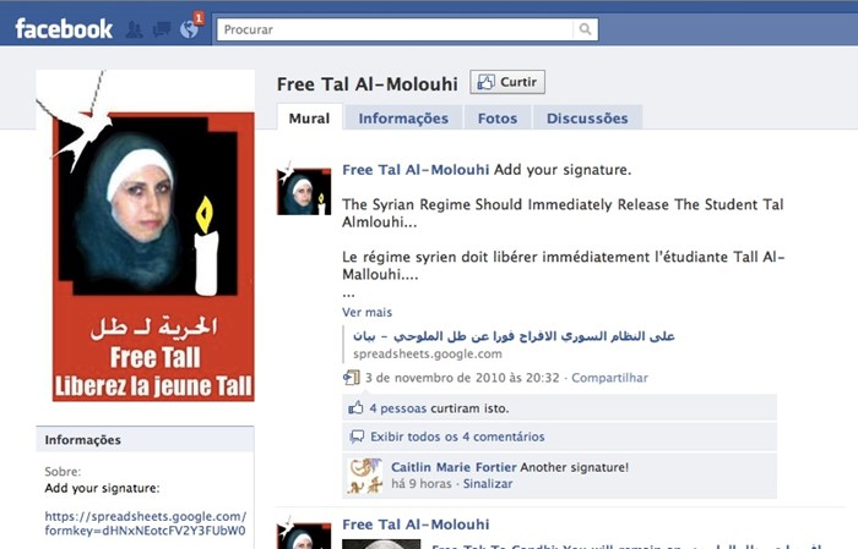 Página no Facebook pede a libertação da menina.