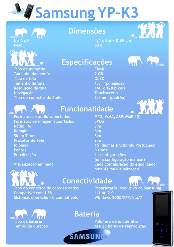 Especificações do Samsung YP-K3