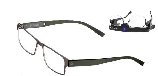 Óculos e carregador das baterias