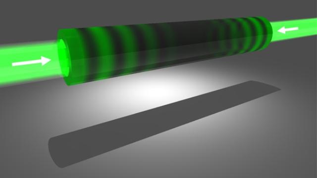 Feixes de luz dos dois lados do tubo