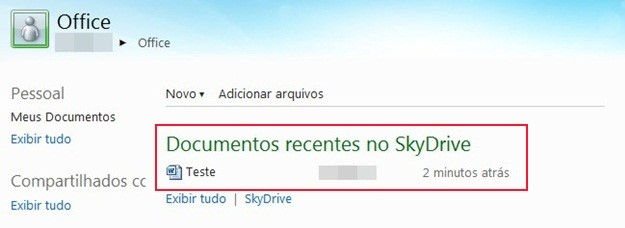 Documentos no SkyDrive