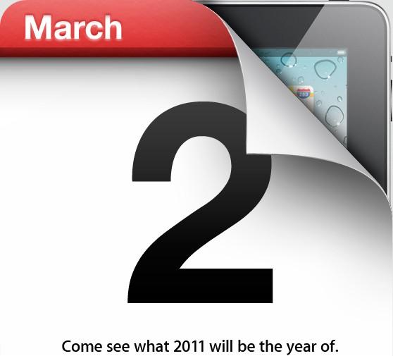 Imagem do convite para evento da Apple no dia 2 de março