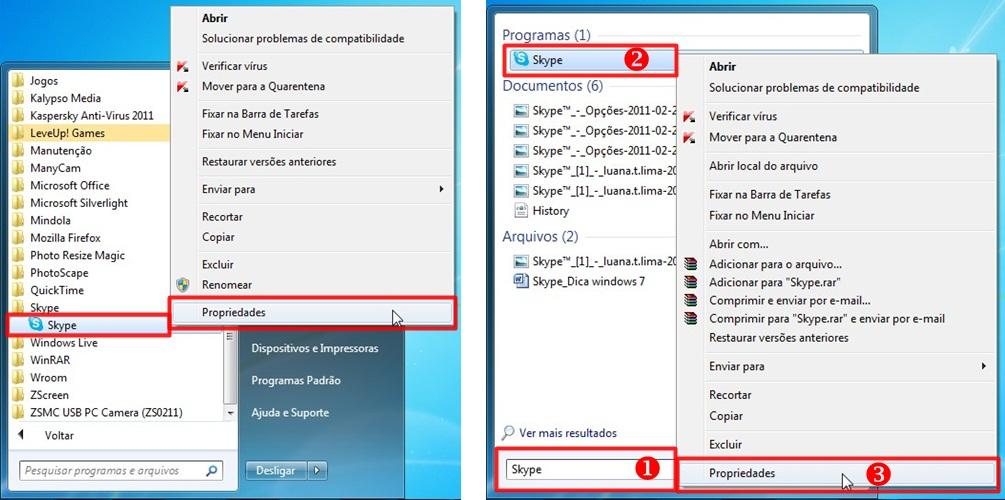 Duas formas de encontrar o Skype no Menu Iniciar