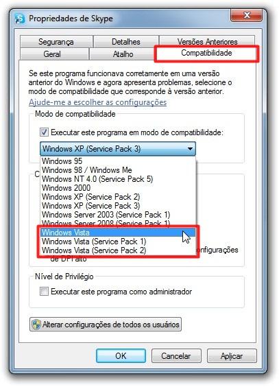 Em Compatibilidade, escolha Windows Vista