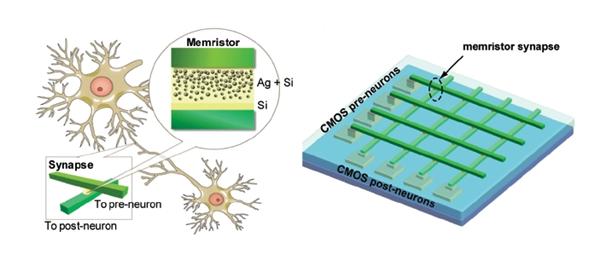 Esquema de comparação entre sinapses e memristors