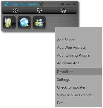 Clique com o botão direito para ter acesso às opções.