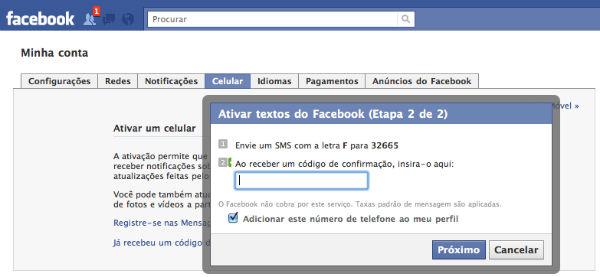 Atualize o Facebook via SMS