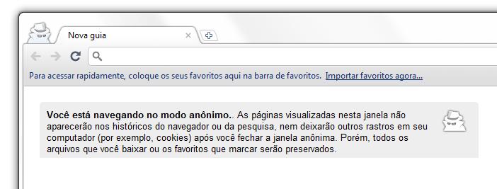 Navegação Anônima no Google Chrome