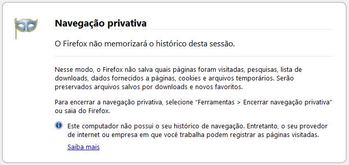 Navegação Privativa no Firefox