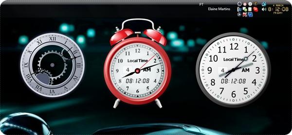 Diversos relógios na Área de trabalho