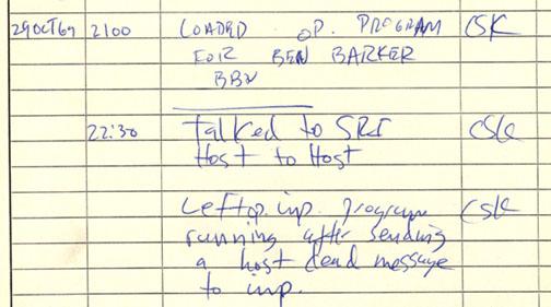 Documento histórico: registro da primeira mensagem enviada pela ARPANET