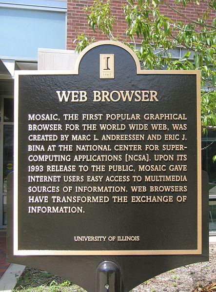 Placa comemorativa em homenagem à criação do Mosaic