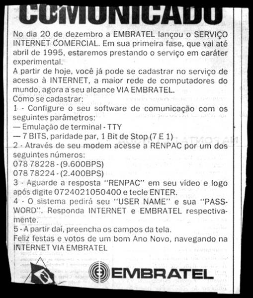 Anúncio da Embratel sobre a comercialização da Internet