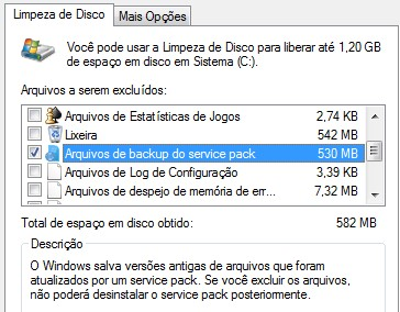 Arquivos de Backup do service pack
