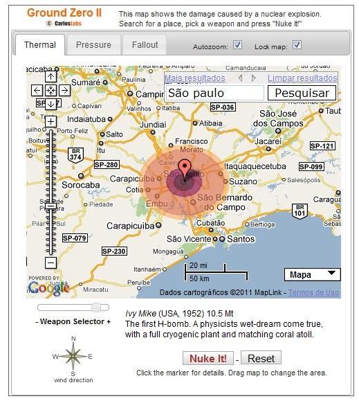 Destruição da primeira Bomba H, caso ela caísse na cidade de São Paulo