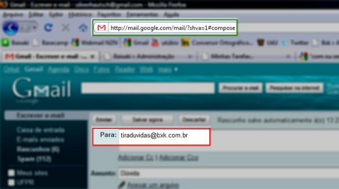 Exemplo de endereço de site e endereço de email.