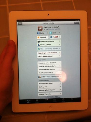 Novo iPad rodando o aplicativo Cydia.