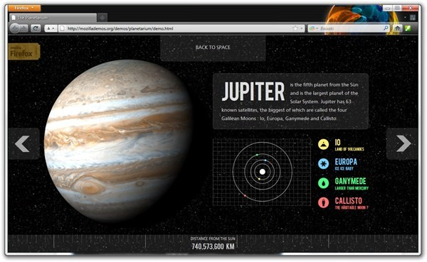 The Planetarium mostra o poder do CSS3 e HTML5