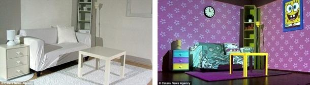 Visual do quarto antes (à esquerda) e depois