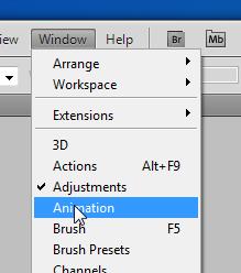 Abra a janela de configurações de animação