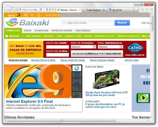 Novo visual do navegador