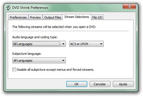 Opções de linguagem