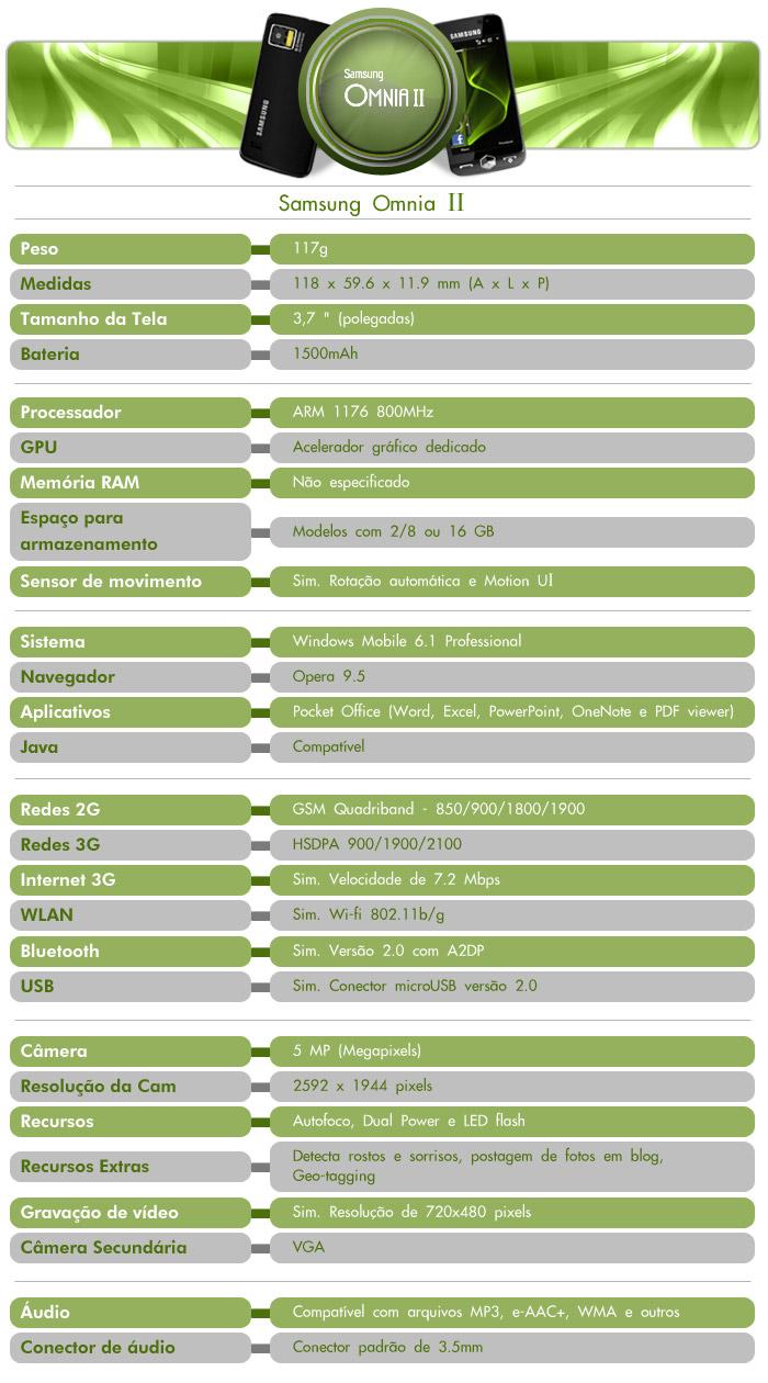 Especificações do Samsung Omnia II