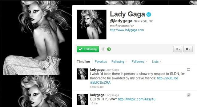 Twitter oficial da Lady Gaga