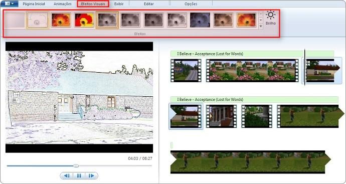 Efeitos no vídeo.