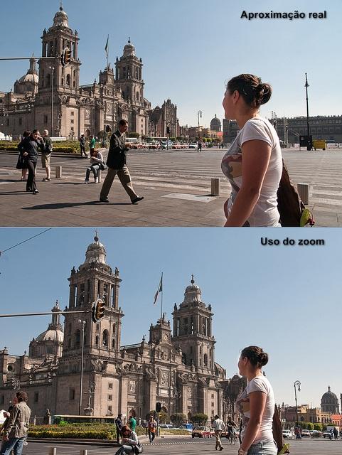 Note como, na segunda foto, a igreja parece muito maior e mais próxima da modelo