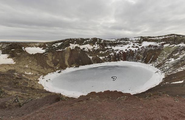 Imagem em 360 graus de um vulcão inativo na Islândia