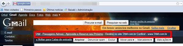 Anúncio de contexto no Gmail
