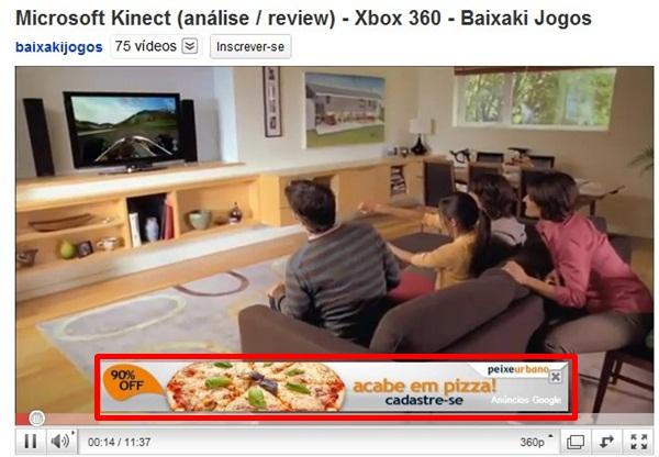 Anúncio sobreposto em vídeo do YouTube