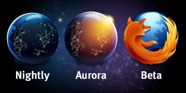 Novos ícones das fases de desenvolvimento do Firefox