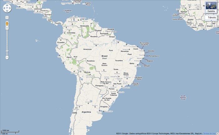 Mapas e rotas no Google Maps