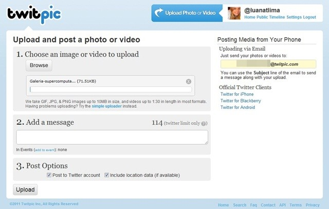 Hospede imagens com o TwitPic