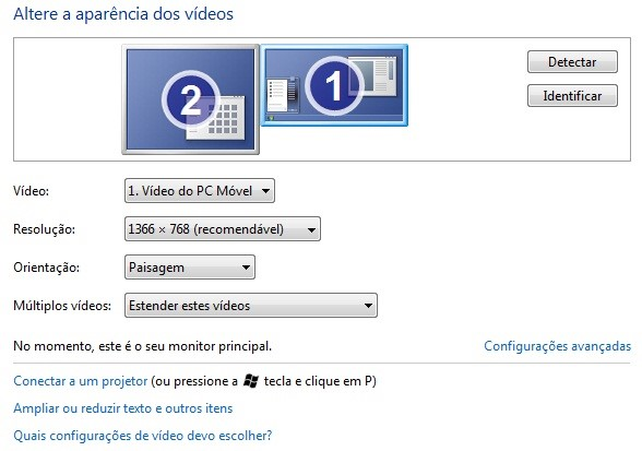 Configure os monitores.