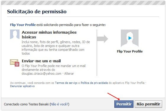 Autorize o acesso do Flip Your Profile à sua conta