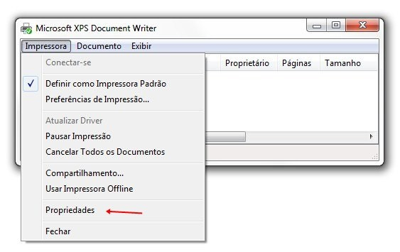 Impressora > Propriedades