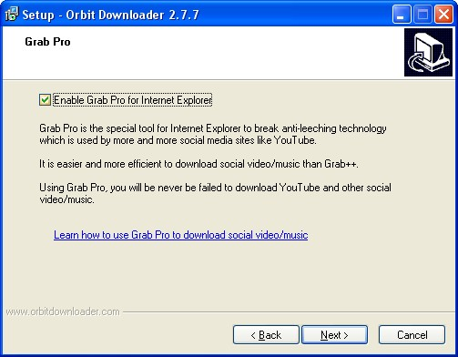 Para facilitar downloads de mídia, use o Grab Pro.