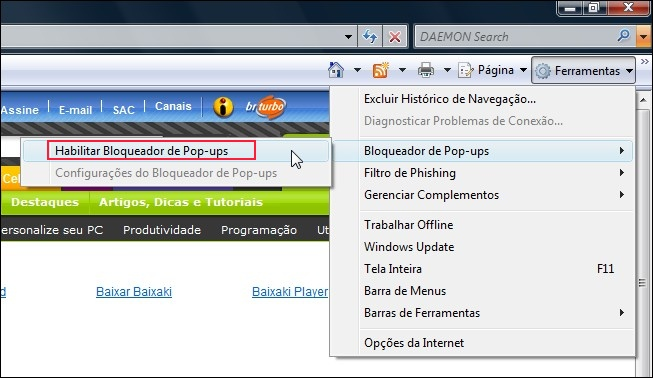 Bloquear pop-ups no Internet Explorer