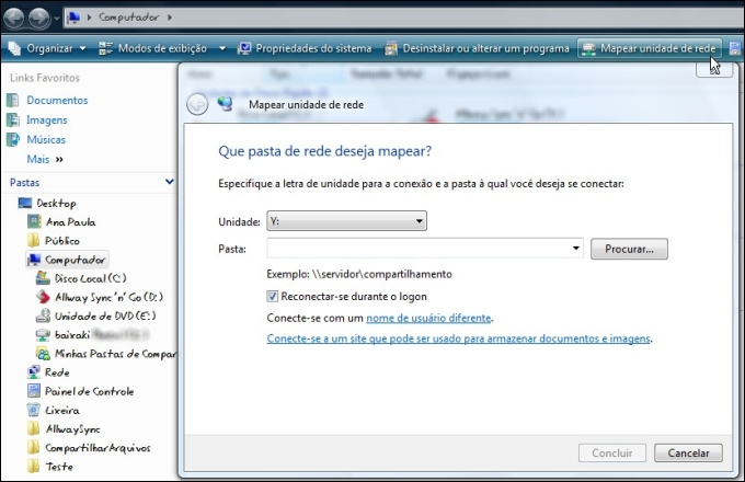 Mapeando a rede no Windows Vista