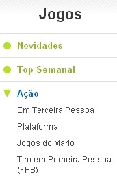 As subcategorias ficam no menu esquerdo