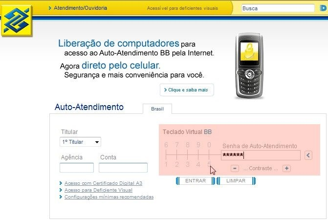 Tecaldo virtual do Banco do Brasil.