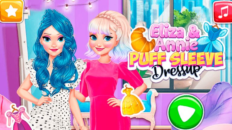 Imagem do jogo Eliza and Annie Puff Sleeve Dress Up
